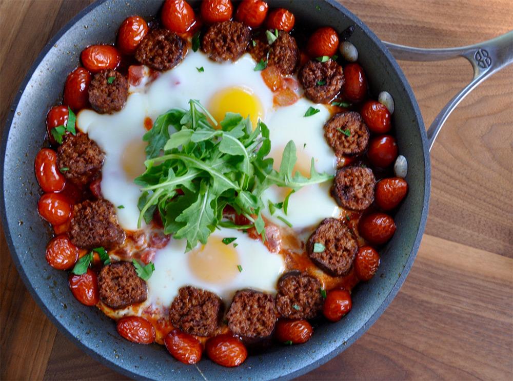 Chorizo Egg Skillet in a pan